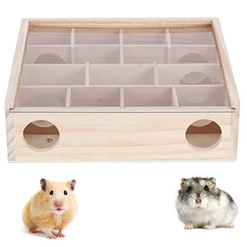 Atyhao Hamster Labyrinth Tunnel Spielzeug, Naturholz Hamster Labyrinth Maus Intelligentes interaktives Haustier Spielzeug mit Acrylabdeckung für Zwerg Hamster Rennmaus Mäuse