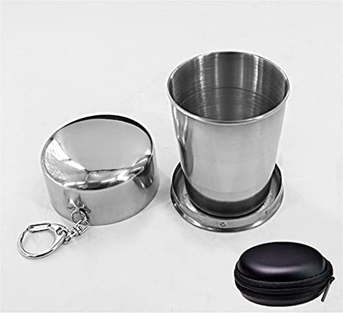 TOHOYOK Travel Folding Cup-2 packs, stainless steel cup keychain design retractable folding cup-suitable for outdoor, home, beer, beverage, coffee and tea, 3 size options, with storage bag