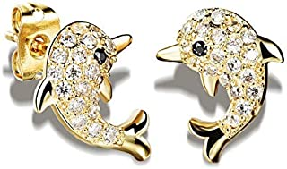 OPK Korean Style Fashion Simple Dolphin Pattern Earwear Platinum Plating Rhinestone Earring For Women