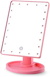 Portable USB Chargeable Desktop LED Makeup Mirror with Lights, Lighted Makeup Vanity Mirror 10 x Magnification 360 Degree Free Rotation with Touch Screen Dimming,Pink