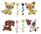 WooMax Pet Shop Toy Littlest LPSs Toy Un Peque?o Gato Rosa + Gato con Rayas de Diamante + Perro Dachshund de Ojos de Diamante + Gato Rosa Brillante con 16 Piezas de Repuesto