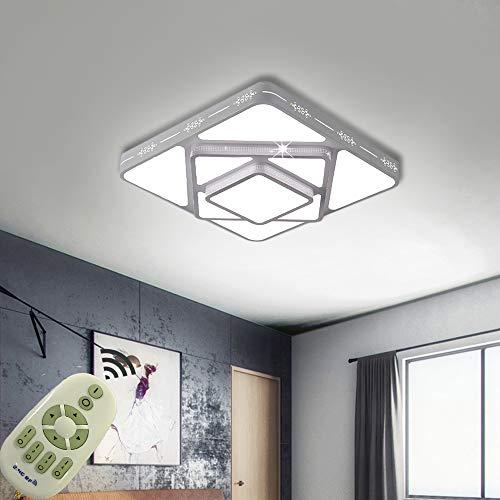 COOSNUG Lámpara de techo LED de 48 W, regulable, 2,4 G, moderna, para salón, dormitorio, cocina, con mando a distancia, color blanco