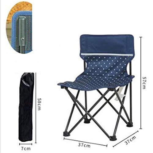 Pkfinrd Klapstoel, draagbaar, klein, klapstoel, voor buiten, vet, dik metaal, vrijetijdsstoel, strandstoel, outdoor, camping, stoel, wandelen, vissen Blauwe punt echte doek.