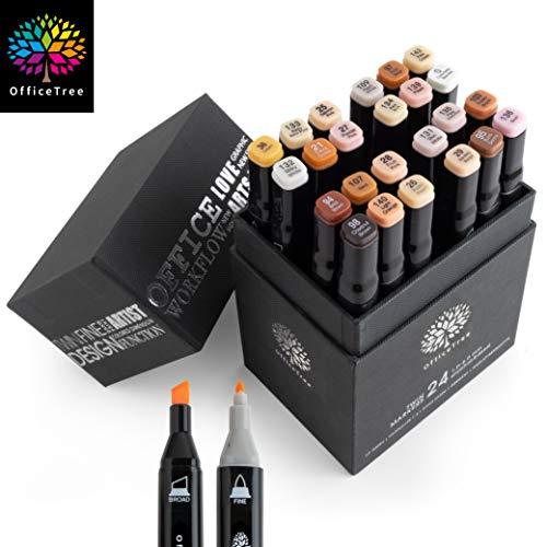 OfficeTree Set Twin Marker Duo-Fasermaler - Grafiti Stifte in Weiche und Intensive Farben zum Skizzieren Layouten Illustrieren Zeichnen Malen (24 Stück, Hauttöne)