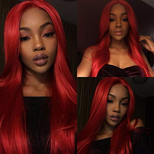 Sapphirewigs Red Color Silk Natrual Wave Type Heat Resistant Hair Cosplay Women Masquerade Party Camgirl Women Daily Makeup Synthetic Lace Front Wigs