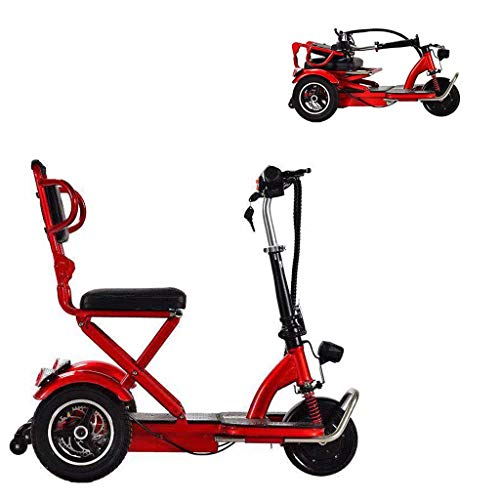 HXJZJ 3-Wheel Mobility Scooter - Electric Powered Mobile Wheelchair Device, Adults Collapsible and Compact, for Elderly/Disabled red 55km Categories Dining Features Kitchen