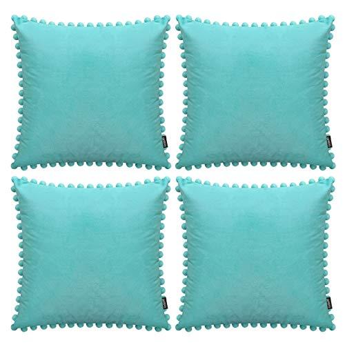 Juego de 4 fundas de almohada decorativas con pompones suaves de terciopelo, fundas de cojín cuadradas con bolas para sofá, hogar, dormitorio, coche, color verde aguamarina (45 x 45 cm)