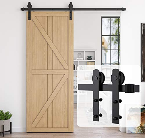 HomLux 6.6ft Heavy Duty Sturdy Sliding Barn Door Hardware Kit, Single Door-Smoothly and Quietly, Easy to Install and Reusable - Fit 1 3/8-1 3/4