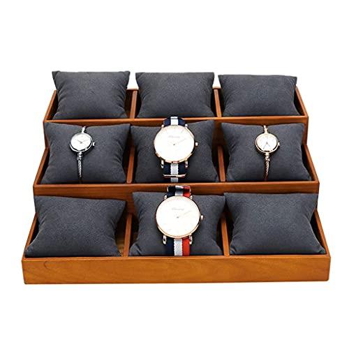 FFAN Bandeja de joyería de brazaletes de Reloj 9 Almohadas de Rejilla Organizador de exhibición de Pulsera Soporte de exhibición de Mesa para Tiendas minoristas caseras Good Life