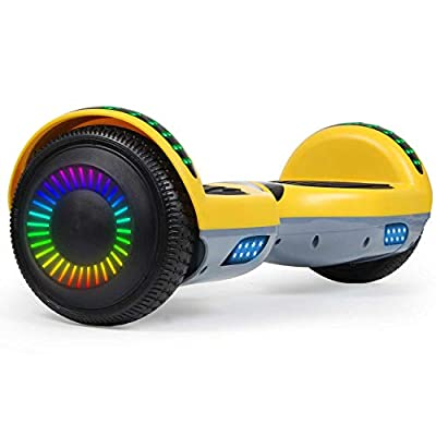 "SISIGAD Hoverboard 6.5"" Self Balancing Scooter with Colorful LED Wheels Lights Two-Wheels self Balancing Hoverboard Dual 300W Motors Hover Board UL2272 Certified"