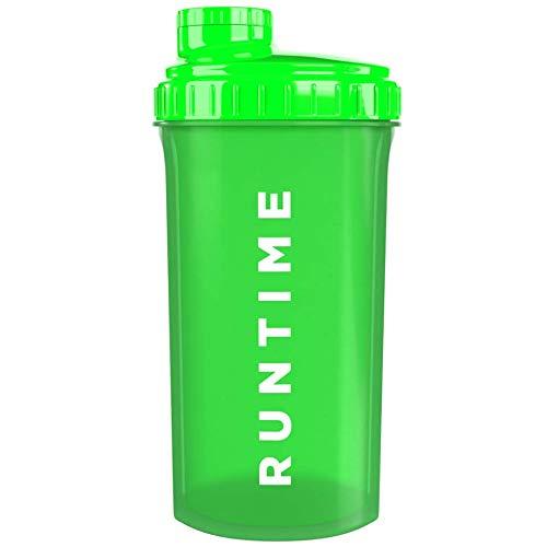 Runtime Protein-Shaker | Sport-Flasche für Nutrition und Fitness | 700ml Fassungsvermögen | mit Sieb - 100% dicht | BPA-frei - inkl. Messskala (Neon Green)