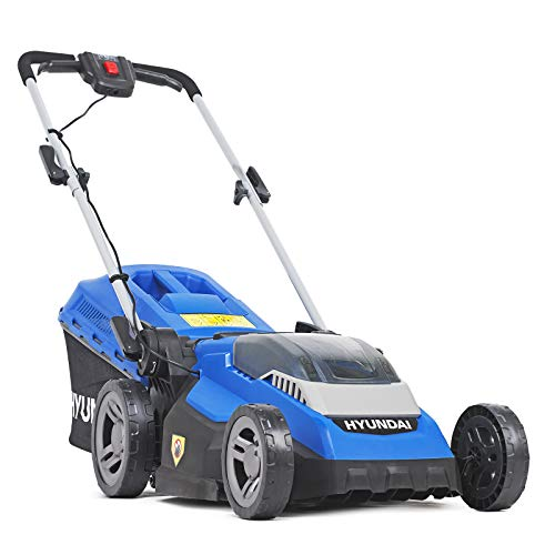 Hyundai HYM40LI380P 40v Lithium-ion Cordless Battery Roller Lawn Mower 38cm Cutting Width 40L Grass Bag with Battery & Charger Mowers & Outdoor Power No Assembly Needed 3 Year Platinum Warranty, Blue