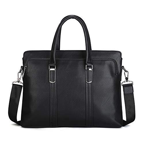 GXHGRASS Casual tas voor heren, lederen laptoptas, casual mobiele zakelijke tas, voor zakelijke en vrijetijdsactiviteiten, zwart, bruin