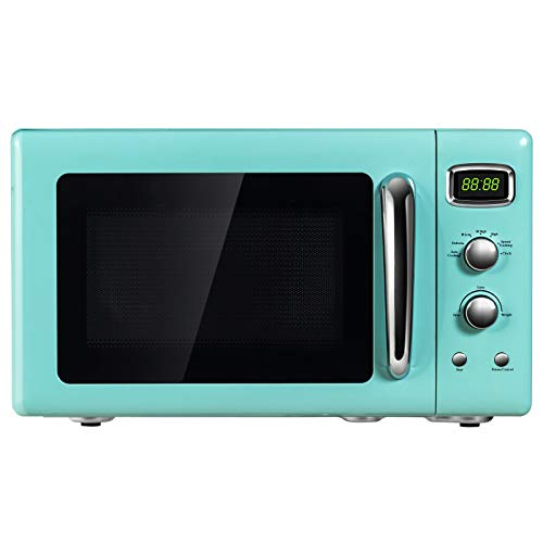 ARLIME 0.9 Cu.ft Microwave Oven, 900W Retro Countertop Compact Microwave Oven, Defrost & Auto Cooking Function, LED Display, Glass Turntable and Viewing Window, Child Lock, ETL Certification (Green)