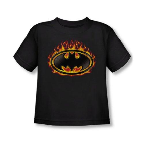 Batman - - Tout-petit bouclier Bat Flames T-shirt In Black, 3T, Black