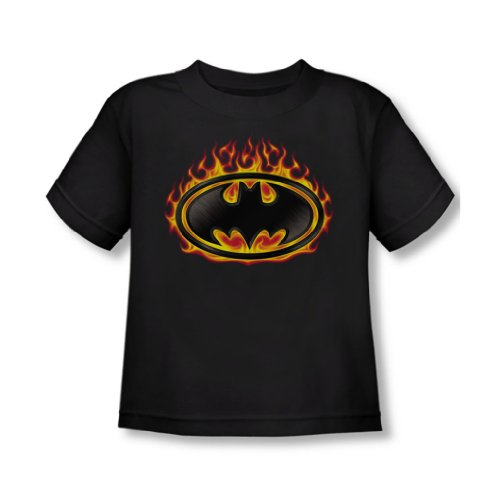 Batman - - Tout-petit bouclier Bat Flames T-shirt In Black, 3T, Black