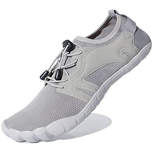 Hombres Zapatos de Agua Zapatillas de Playa Antideslizante Zapatos Descalzos Secado Rápido Zapatillas Sin Cordones Ligero y Transpirable Gris 50 EU