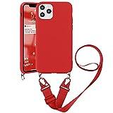 Pnakqil Funda con Cuerda para OnePlus 6T 6,41' - Suave Silicona Teléfono Móvil Carcasa con Ajustable Collar Correa para Hombro y Cordón para el Cuello Cadena, Rojo