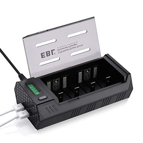 EBL 908 Caricabatterie Universale per AA e AAA C D e 9V Ni-MH Batterie Ricaricabili,Caricatore Batterie con LCD Display Retroilluminato