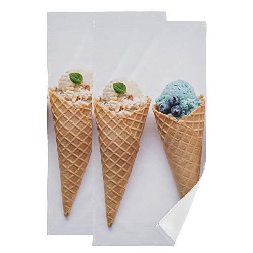 Juego de 2 Toallas de baño Helado de Colores Toalla Ligera de Verano para Acampar Toallas absorbentes Suaves de Secado rápido Adecuado para baño Cocina Aseo Playa
