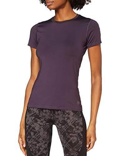 Marca Amazon - AURIQUE Camiseta Deportiva con Panel de Rejilla Mujer, Morado (Nightshade), 40, Label:M