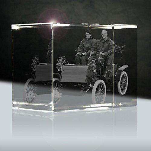 3D Foto in Glas | XXL Quader 130mm | 1 bis 2 Fahrzeuge mit Fahrern zB als Geschenk für Oltimer Sammler