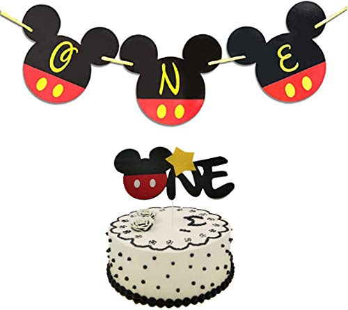 Mickey Mouse One Birthday Decorations Mickey One Banner 1st Birthday High Chair Banner,Mickey One Cake Topper Baby Boys Girls Photo Booth Props Party Supplies