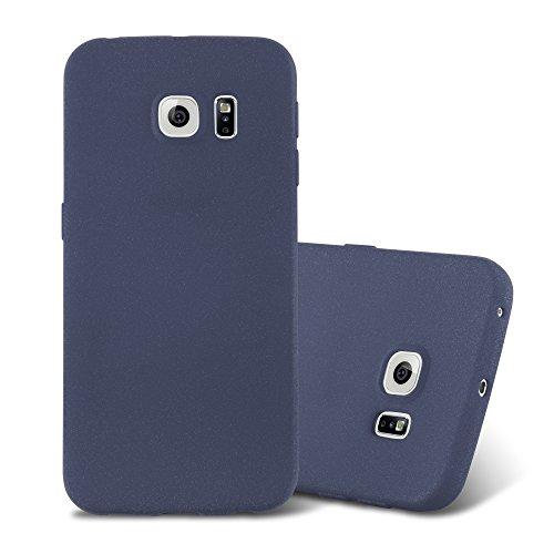 Cadorabo Hülle für Samsung Galaxy S6 Edge - Hülle in Frost DUNKEL BLAU – Handyhülle aus TPU Silikon im matten Frosted Design - Silikonhülle Schutzhülle Ultra Slim Soft Back Cover Case Bumper