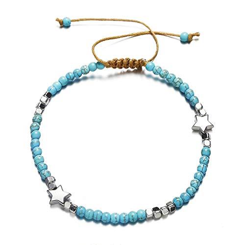 Sevenfly Bohemian Beads Star Rope Chain Anklets for Women Handmade Beach Adjustable Anklet Bracelet