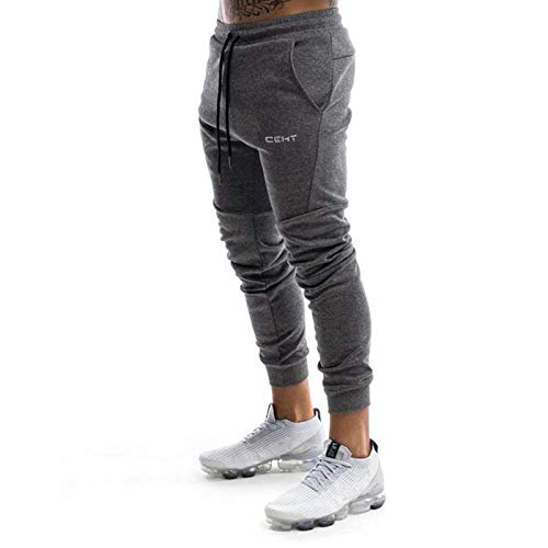 Wangdo Men's Slim Jogger Gym Pants Comfortable Tapered Athletic Sweatpants Casual Running Fitness Track Pants with Pockets(Dark Grey-M)
