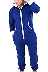 Mens Plain Onesie Hoodie Jumpsuit Playsuit All In One Piece Blue X-Large