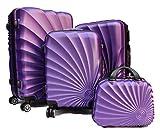 R.Leone Valigia Fino a Set 4 Trolley Rigido grande, medio, bagaglio a mano e beauty case 4 ruote in ABS 2092 (Viola, Set 3 S M L)