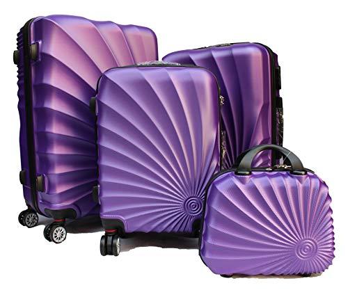 R.Leone Valigia da 1 pezzo Fino a Set 4 Trolley Rigido grande, medio, bagaglio a mano e beauty case 4 ruote in ABS 2092 (Viola, Set XS S M L)