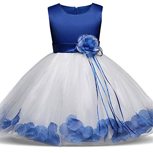 Vestido para Niños Niños Niñas sin Mangas Tutu Pétalos de Flores Tul Princesa Boda Desfile Vestido de Fiesta Vestido de Baile para Niños Pajarita Fajín Vestido de Novia para Niña Pequeña Vestido de N
