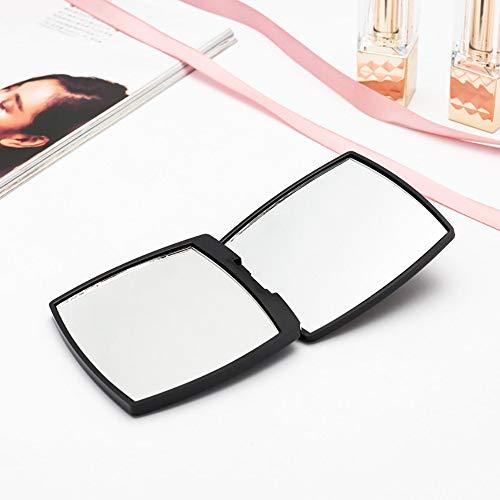 ZLMFBMStom Make-up-spiegel, draagbaar, 180 graden instelbaar, draaibaar, vergroting van kristalglas, voor thuis en onderweg, zwart 4 sets