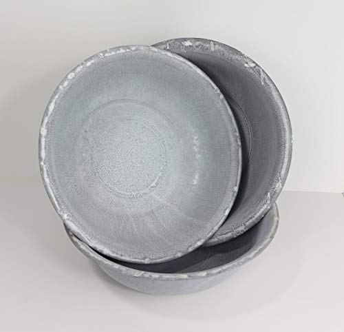 linoows Zink Schüssel Satz, DREI Gartenschüsseln, 3 Pflanzen Schalen, Metall verzinkt
