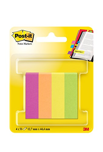 Post-it 29747 Segnapagina in Carta, 12.7 x 44.4 mm, 4 Colori Capetown, Fucsia/Arancio Neon/Giallo Oro/Verde Neon, 200 Pezzi