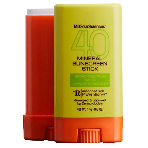 MDSolarSciences Mineral SunScreen Stick SPF 40 | Lightweight, Oil-Free Formula, Broad UV Protection with Zinc Oxide, 80 Mins Water Resistance | 0.6 Oz