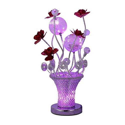 WECDS-E Lámparas de Mesa Lámpara de Mesa de Cristal Lámpara de Noche para Dormitorio Lámpara de Mesa para Sala de Estar Lámpara de Escritorio de Regalo de cumpleaños de Boda Rosa roja