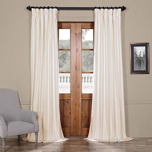 96inch 1 Piece Blackout Curtain Single Panel, Off White Solid Drape Fabric Traditional Screen Elegant for Adult Bedding Master Bedroom Energy Effecient, Cotton Polyester Blend