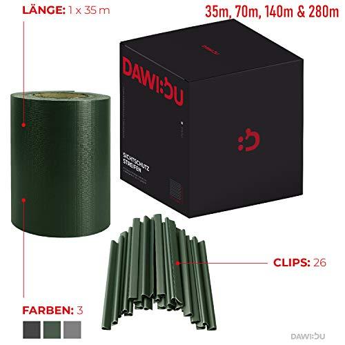 DAWIDU Zaun Sichtschutzstreifen für Doppelstabmatten - 35m x 19cm inkl. 26 Clips (& Einstab) - Vielfältiger Premium Wind- & Sichtschutz Gartenzaun - Einfache Montage & langlebiger Schutz - Grün