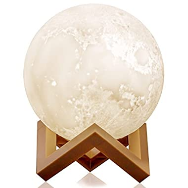 Moon Lamp, Ehobroc 3D Printing Moon Globe Light, 5.9 Inch Glowing Moon Lamp Tap Change 3 colors(Cool/Warm White&Yellow), Decor Moon Light Best Gifts for Kids, Birthday, Bedside