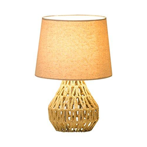 JPVGIA Cuerda de cáñamo hecha a mano Diy Lámpara de mesa Decoración de la sala Estilo nórdico Lámpara de escritorio pequeña Dormitorio Luz de noche Lámpara de mesita de noche cálida creativa