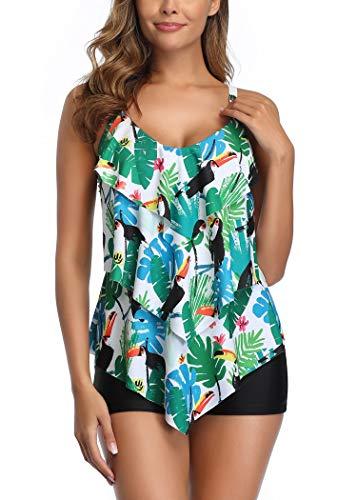 Aidotop Traje de Baño en Dos Piezas Sexy Mujer Tankini Vest Short de Baño Traje para el Mar Playa Piscina Fiesta Vacaciones (Green, XL)