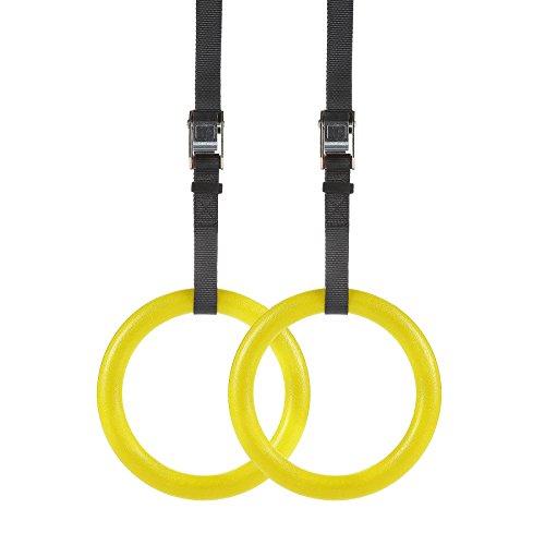 LAKARU(ラカル) 体操吊り輪 オリンピック体操リング トレーニング 滑りにくい ベルト調節可能 自宅 ジム筋力強化 フィットネス 最大荷重400kg 2個セット