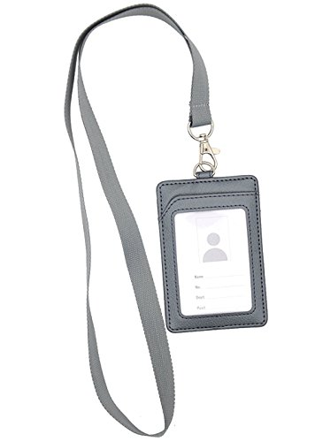 Bird Fiy Vertical Style PU Leather ID Badge Holder and Neck Lanyard (Silver)