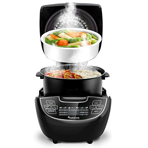 Turbotronic/Elektrischer Multikocher / 5L / schwarz/Dampfgarer, Reiskocher, Slow Cooker, Küchenmaschine, 860W, Timer