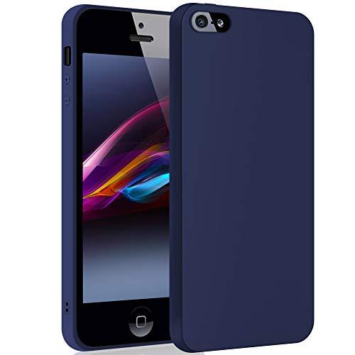 SDTEK Custodia iPhone SE (Marina) Cover Case Bumper Caso Matte Matte Silicone Gel per iPhone SE (2016-2019) / iPhone 5 / 5s