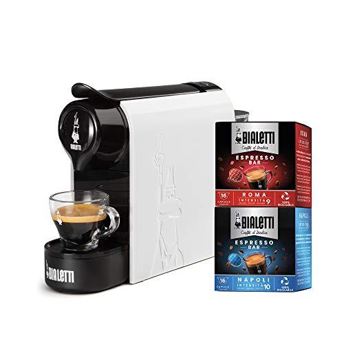 Bialetti Gioia, Macchina da Caffè Espresso per Capsule in Alluminio sistema Bialetti il Caffè dItalia, Supercompatta, Bianco + 32 CAPSULE
