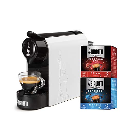 Bialetti Gioia, Macchina da Caffè Espresso per Capsule in Alluminio sistema Bialetti il Caffè d'Italia, Supercompatta, Bianco + 32 CAPSULE